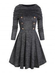 Foldover Button Long Sleeve A Line Dress -