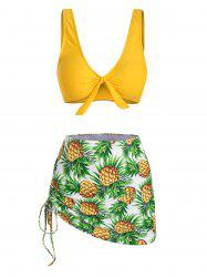 Pineapple Print Cinched Knot Three Piece Swimsuit -