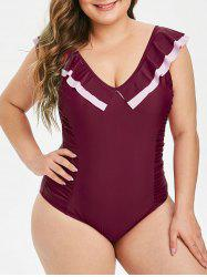 Plus Size Ruched Flounce Backless One-piece Swimsuit -