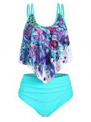 Feather Print Flounce Overlay High Waisted Tankini Swimwear -
