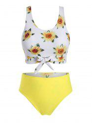 Plus Size Reversible Sunflower Print Tied Bikini Swimsuit -