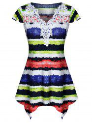 Colorful Striped Print Lace Insert Handkerchief  T-shirt -