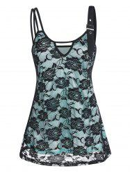 Keyhole Overlay Lace Cami Tank Top -