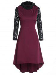 Lace Sleeve Hooded High Low Midi Dress -