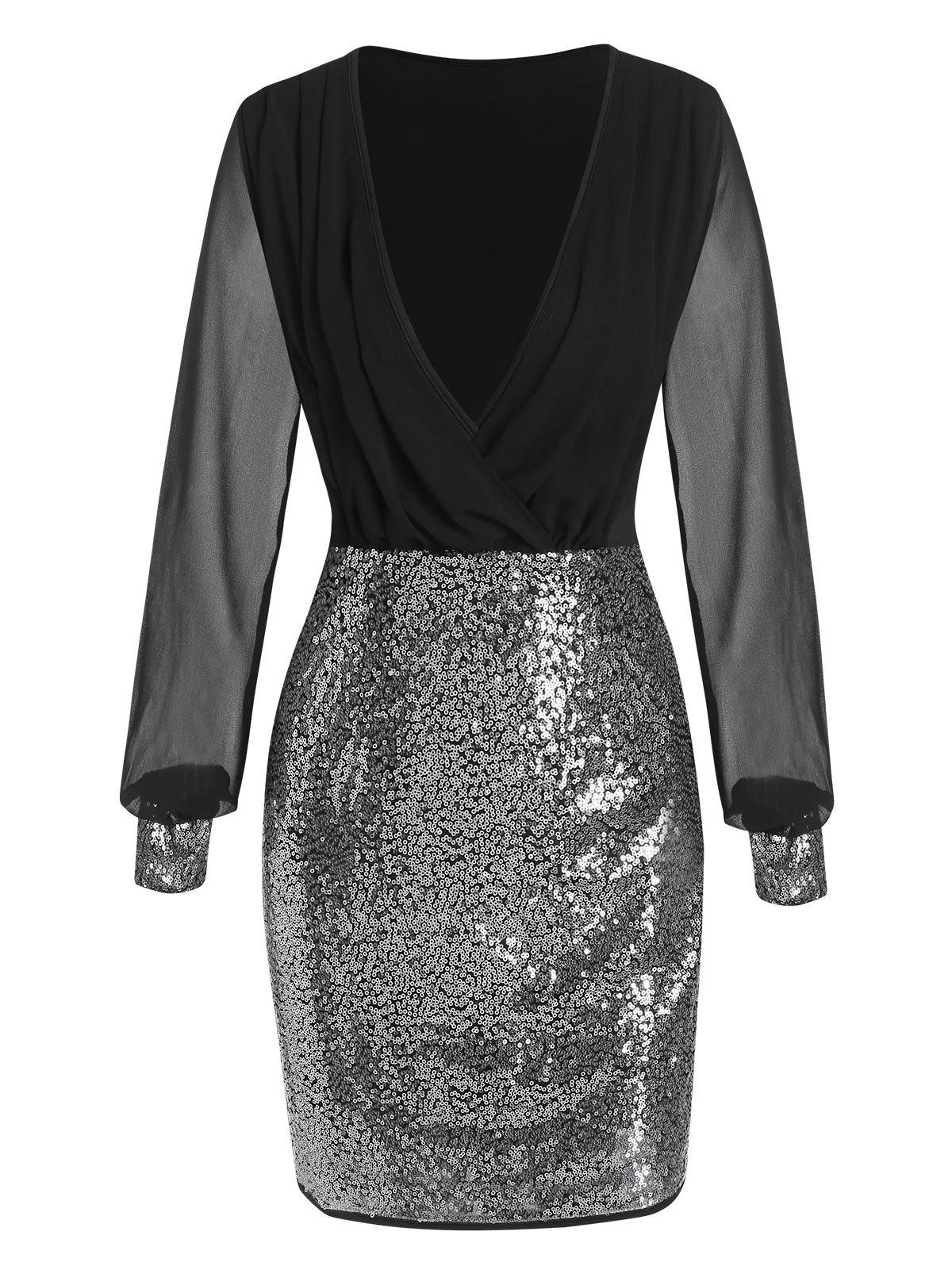Discount Sequin Panel Chiffon Sleeve Plunge Neck Sheath Dress