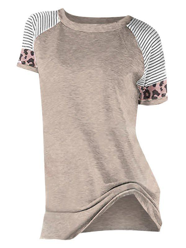 Outfit Striped Leopard Print Round Neck Tee