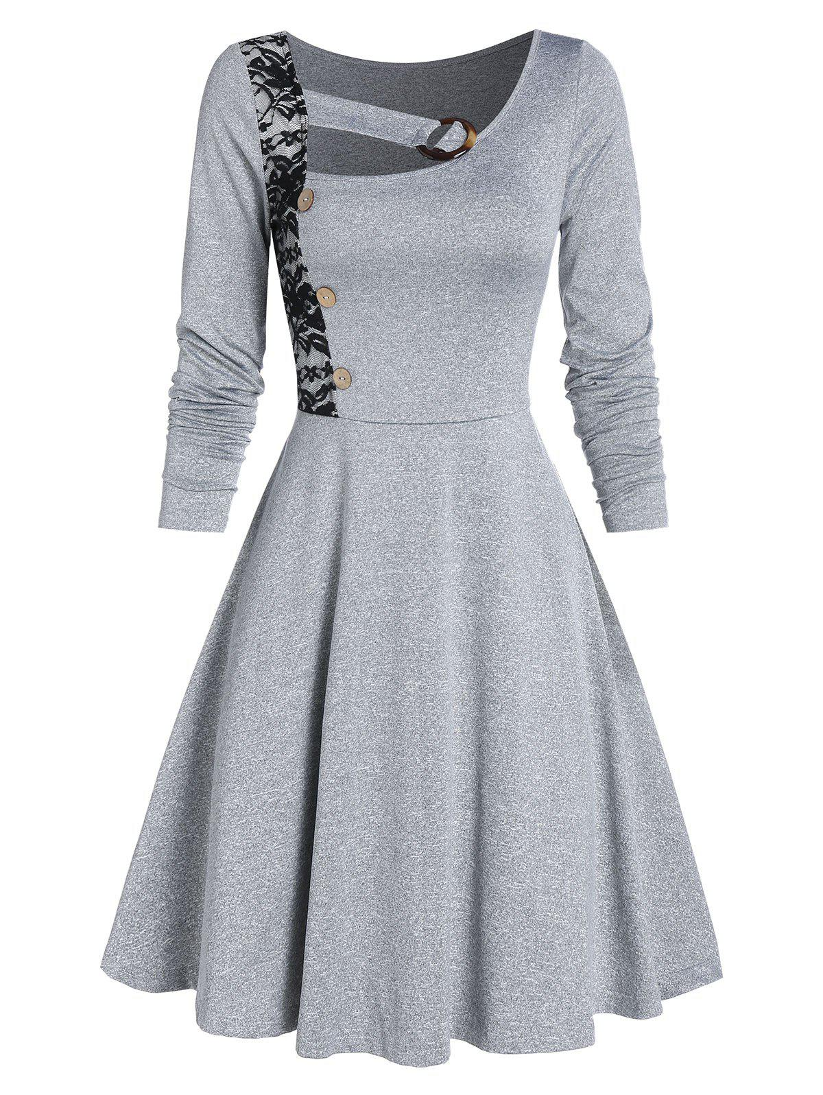 Store Lace Insert Mock Button Marled Flare Dress