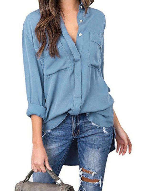 Affordable Button Up Front Pocket High Low Shirt
