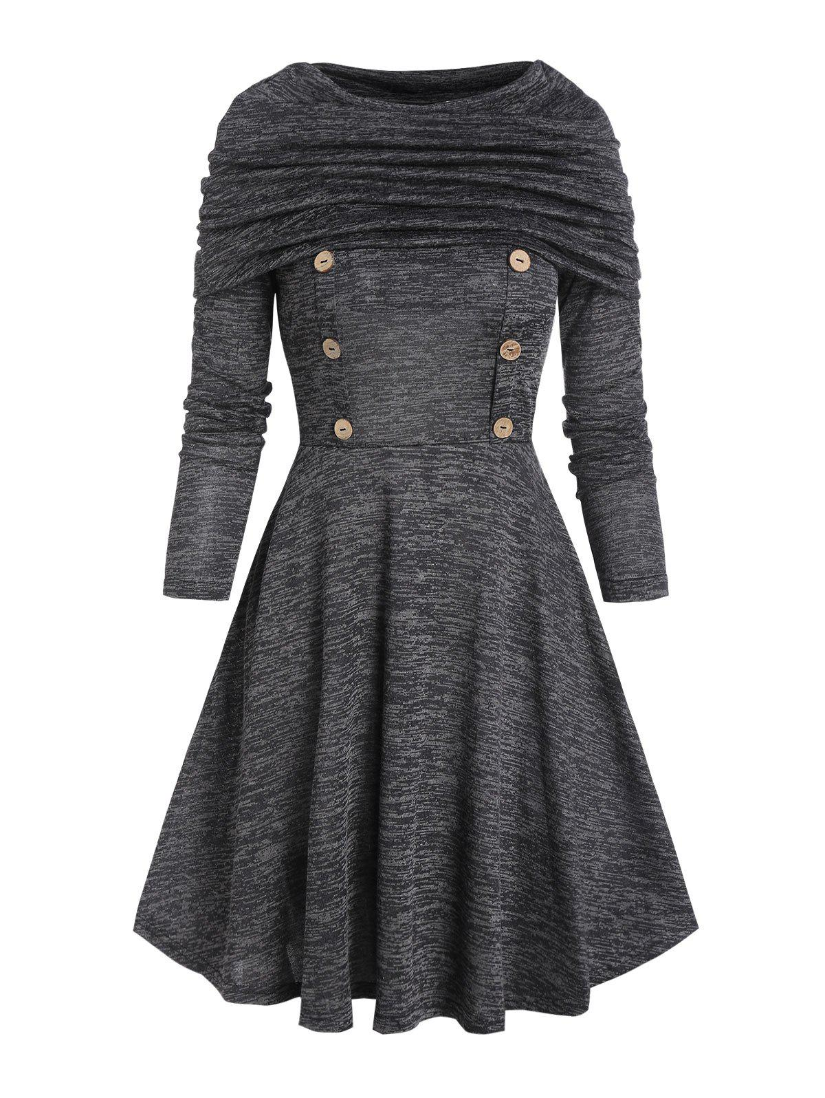 Trendy Foldover Button Long Sleeve A Line Dress