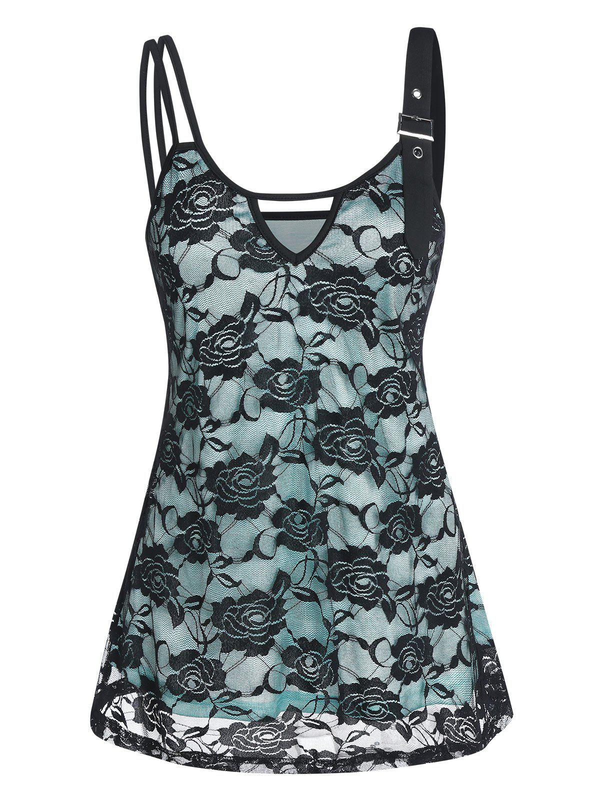 Affordable Keyhole Overlay Lace Cami Tank Top