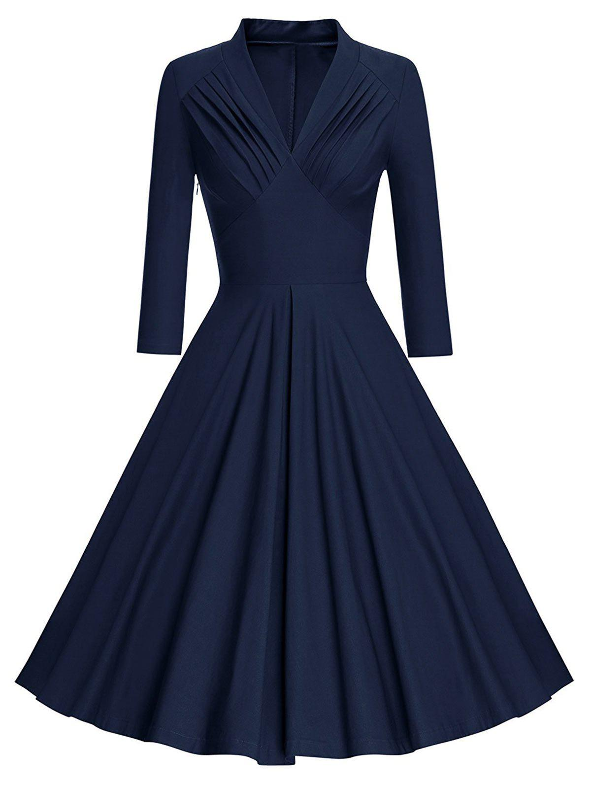 Affordable Pleated Plunging Long Sleeve Dress