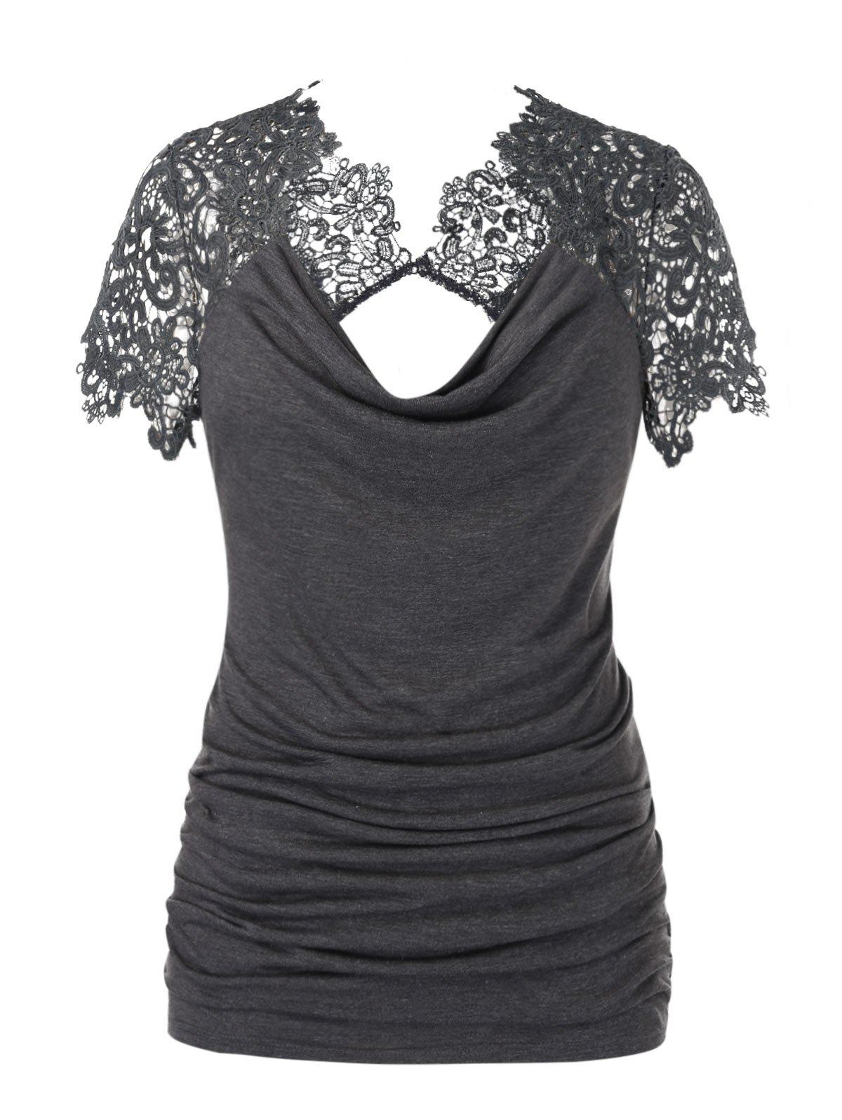Plus Size Cowl Neck Lace Insert Ruched Cutout T Shirt фото