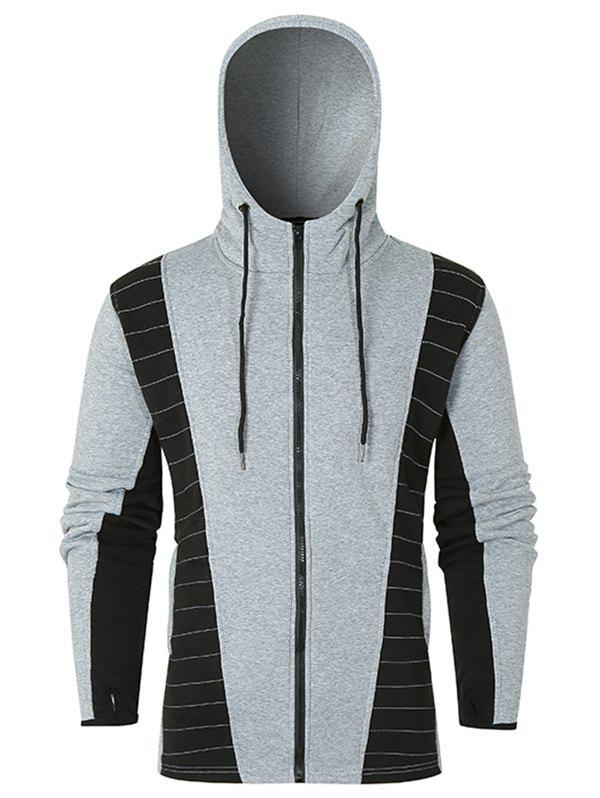 Fashion Two Tone Quilted Zip Up Fleece Hoodie