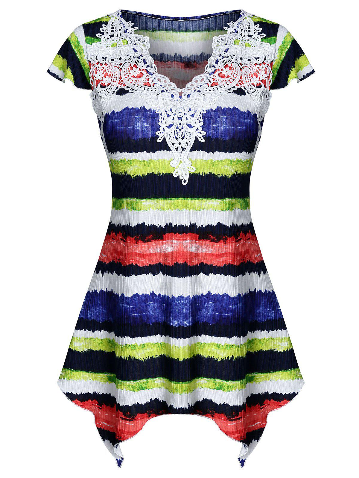 Outfits Colorful Striped Print Lace Insert Handkerchief  T-shirt