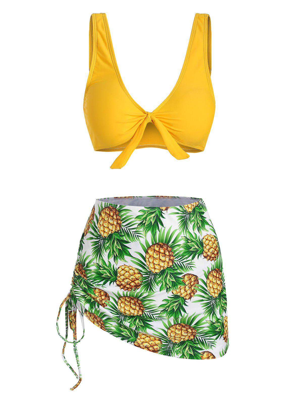 Buy Pineapple Print Cinched Knot Three Piece Swimsuit