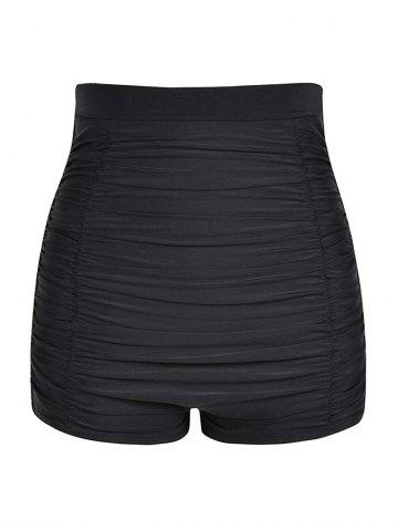 Plus Size Ruched Board Shorts - BLACK - 2X
