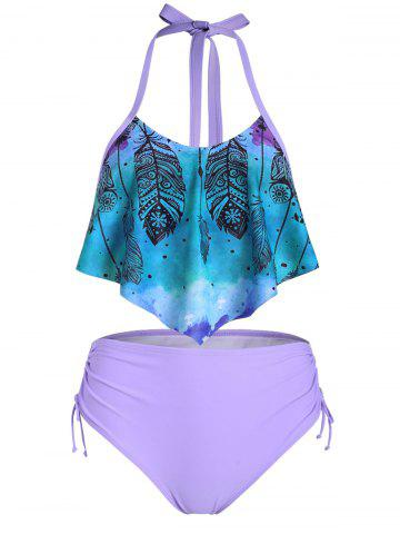 Feather Print Cinched Overlay Tankini Set