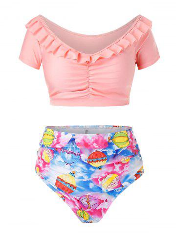 Plus Size Balloon Print Ruffle Ruched Two Piece Swimsuit - LIGHT PINK - 1X