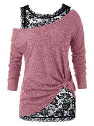 Plus Size Skew Neck Sweater and Floral Lace Top -