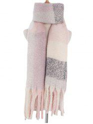 Checkered Spliced Tassel Wrap Scarf -