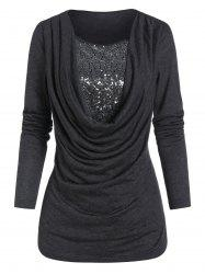 Cowl Front Sequin Panel Long Sleeve T Shirt -