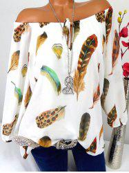 Feather Print Off The Shoulder Blouse -
