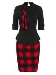 Plaid Print Peplum Mini Sheath Dress -
