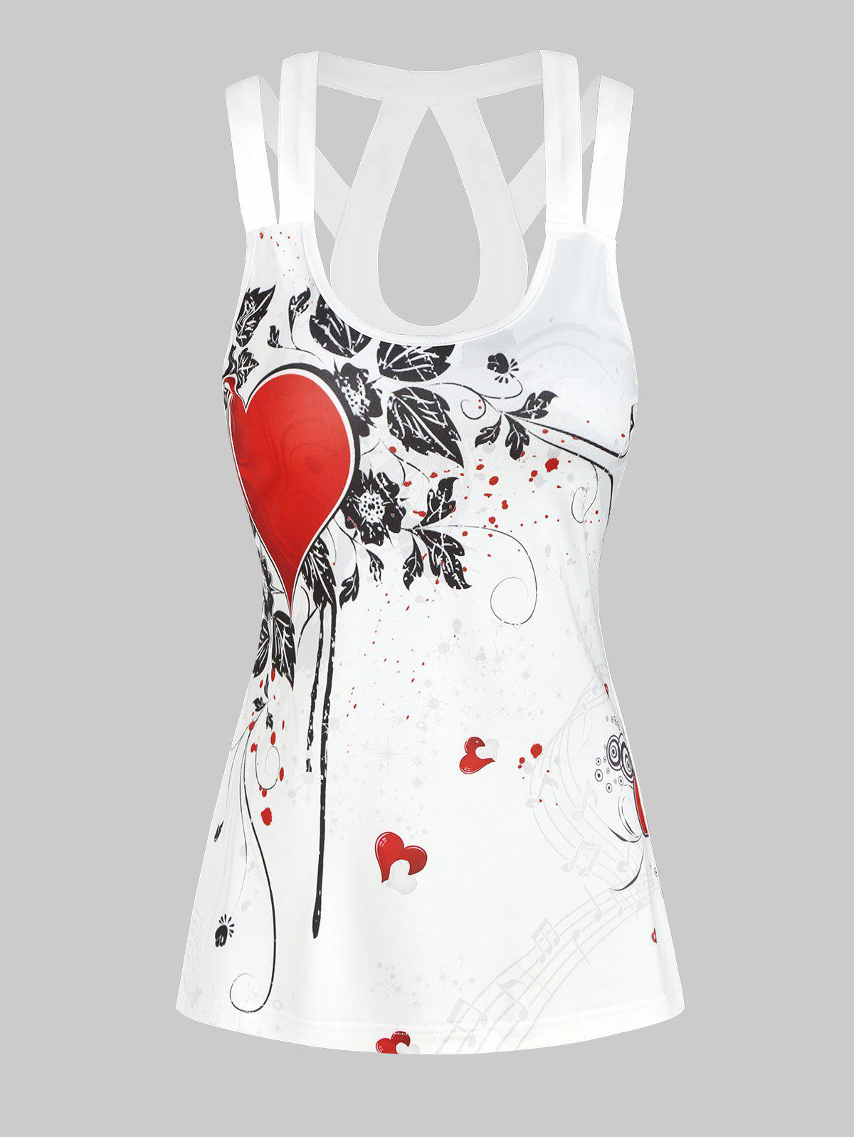 Discount Valentine Flowers Heart Print Cut Out Tank Top
