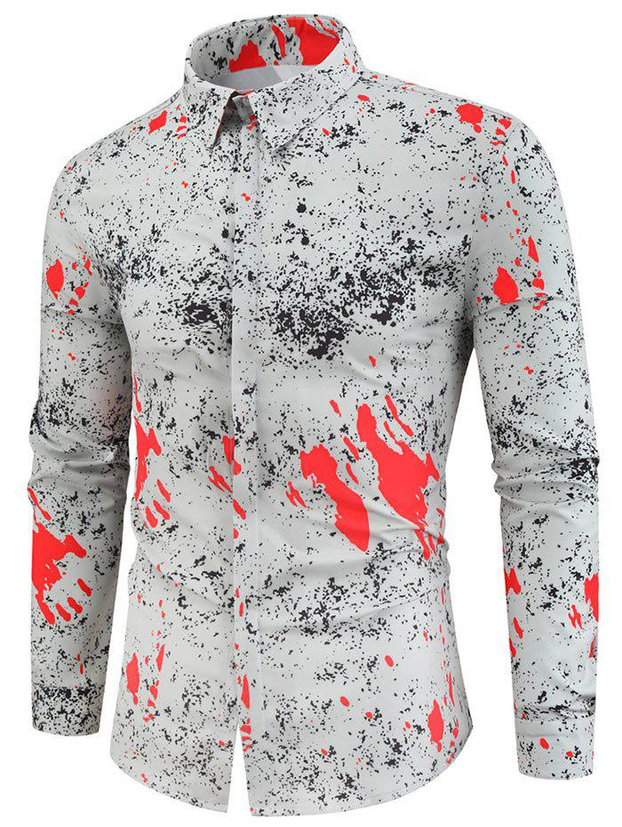 Online Blood Painting Print Long-sleeved Shirt