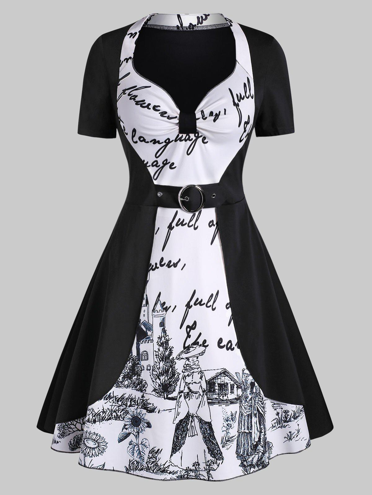 Castle Letter Graphic Knotted Sweetheart Dress, Black