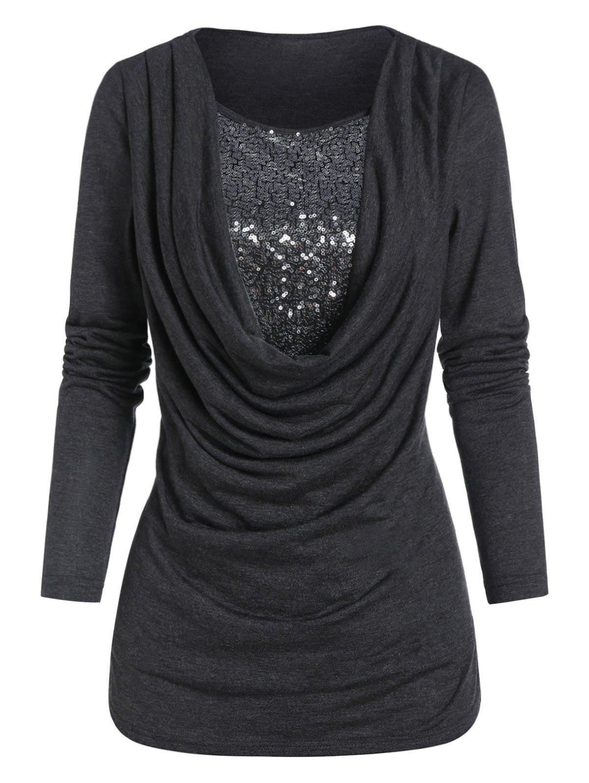 Trendy Cowl Front Sequin Panel Long Sleeve T Shirt
