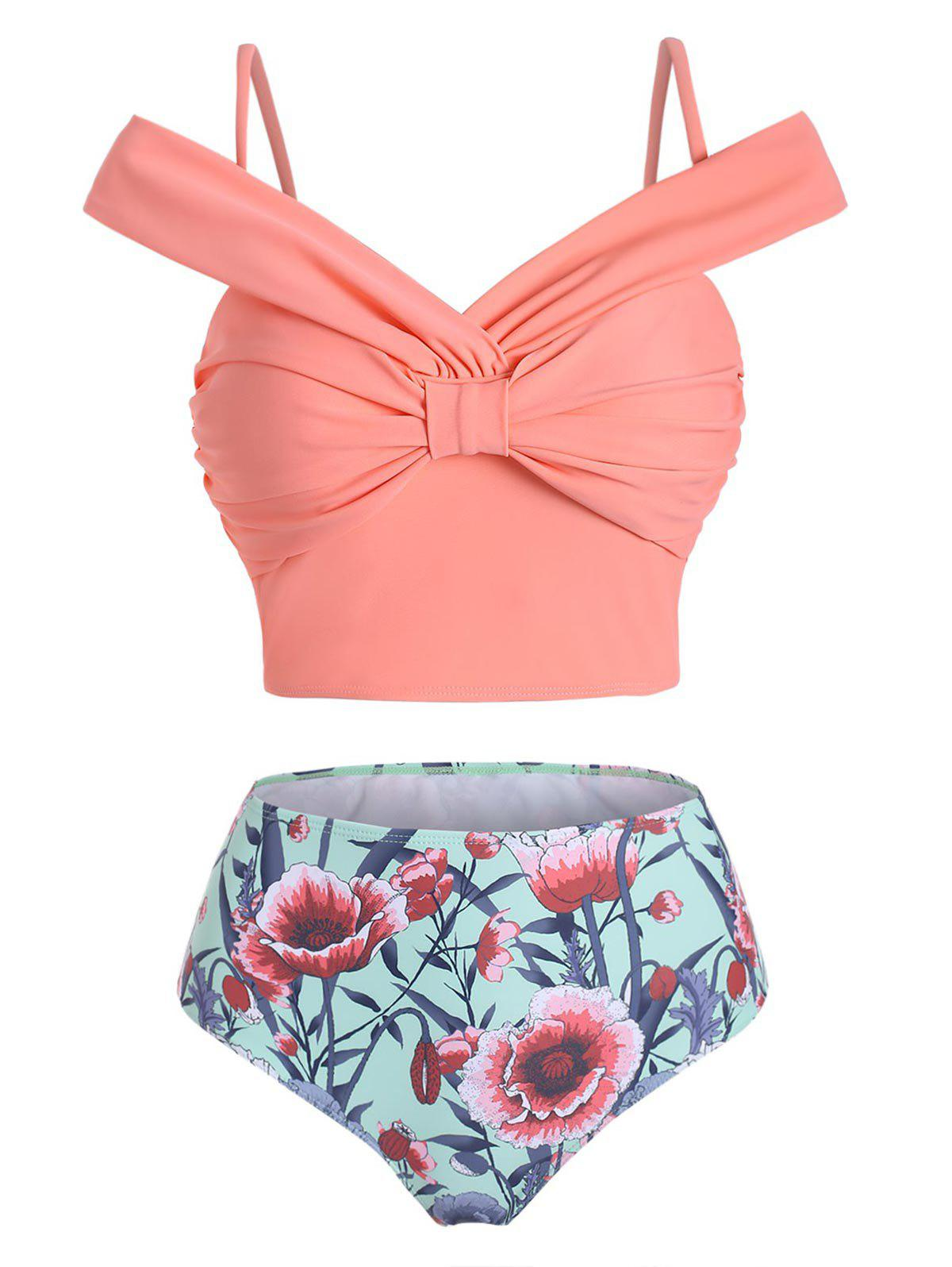 Latest Floral Knotted High Waisted Two Pieces Swimwear