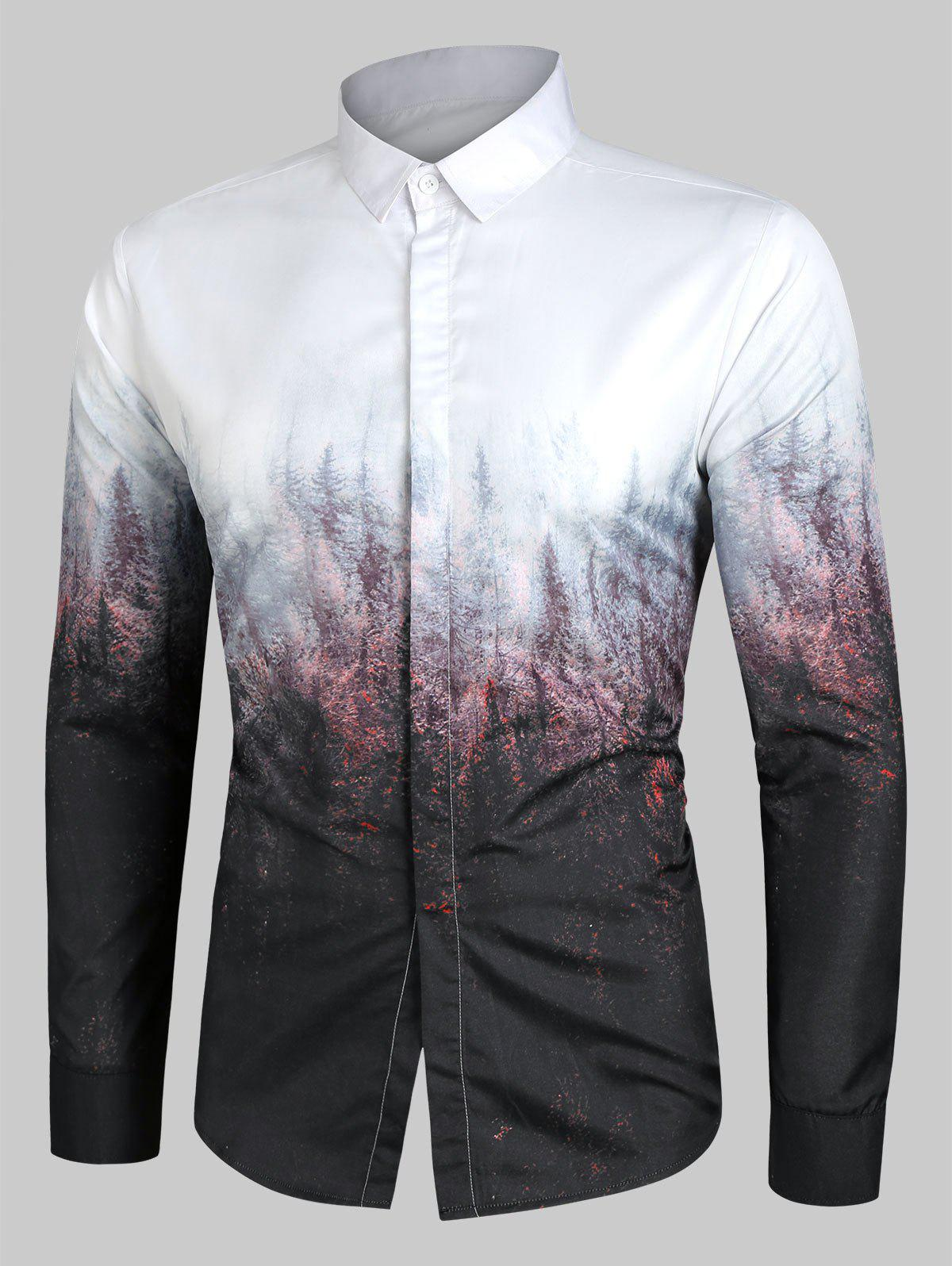Fancy Forest Print Gradient Button Up Shirt