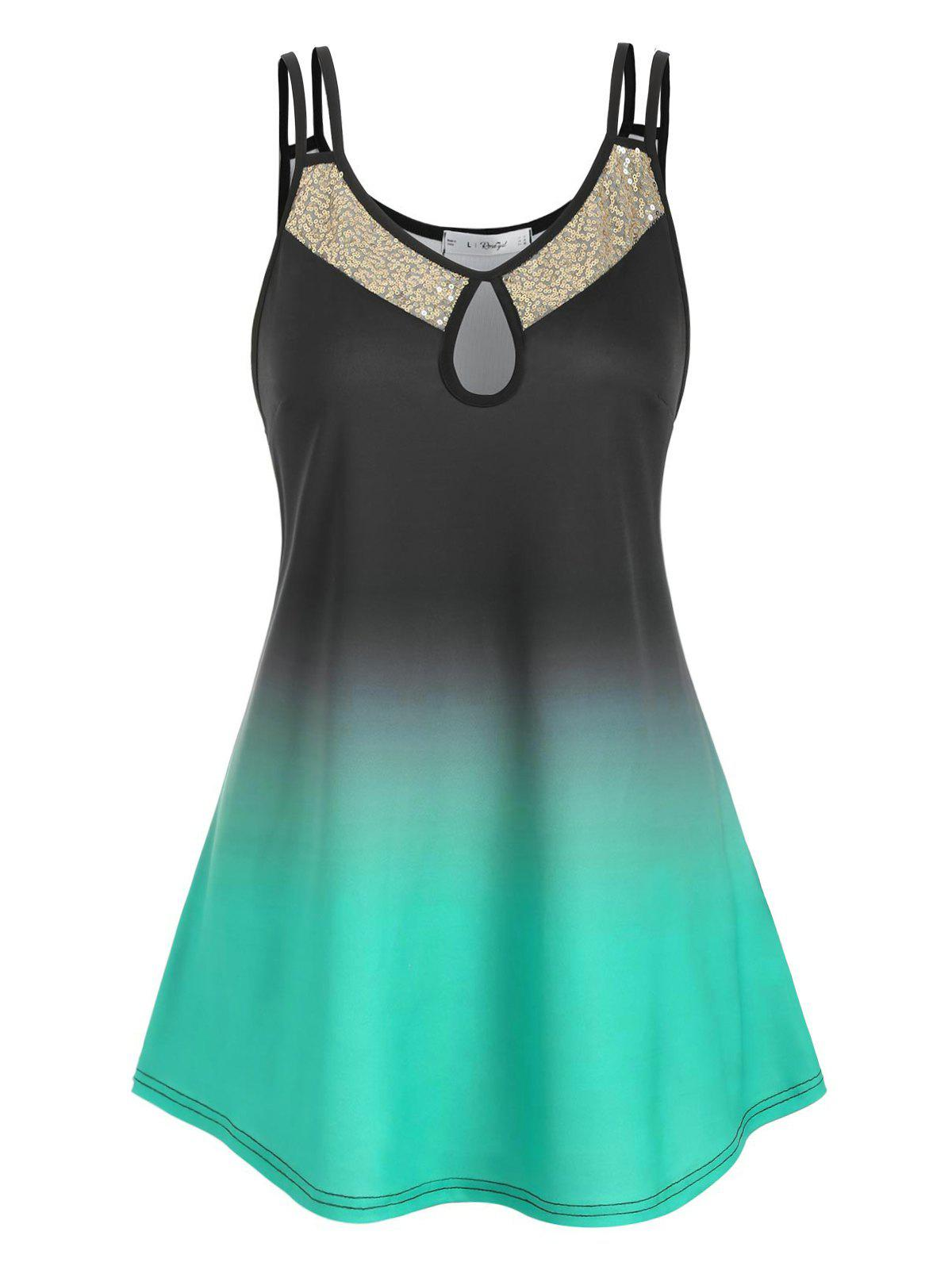 Outfits Plus Size Keyhole Ombre Color Sequin Tank Top