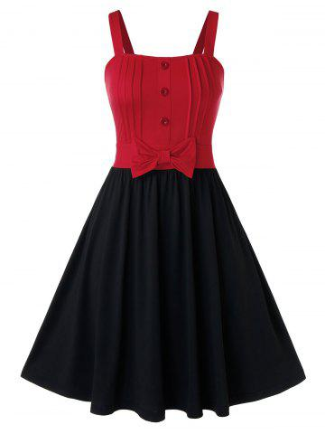 Plus Size Two Tone Bowknot A Line Dress - BLACK - 4X