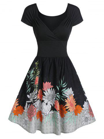 Ruched Floral Print Fit and Flare Dress