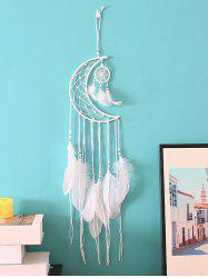 Crescent Beaded Feather Dream Catcher -