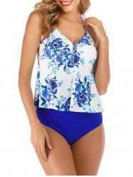 Halter Floral Bow Ruched Tankini Swimsuit -