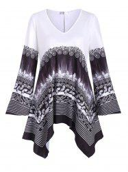 Plus Size Handkerchief Butterfly Tribal Print T Shirt -
