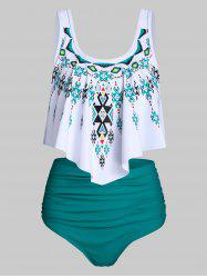 Ethnic Geometric Print Ruched Asymmetrical Tankini Swimsuit -