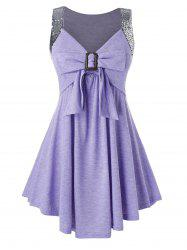 Plus Size Sequined Bowknot Tunic A Line Tank Top -