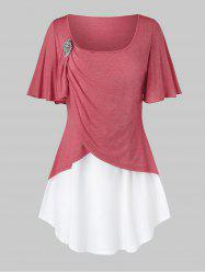 Plus Size Two Tone Flutter Sleeve Ruched T Shirt -