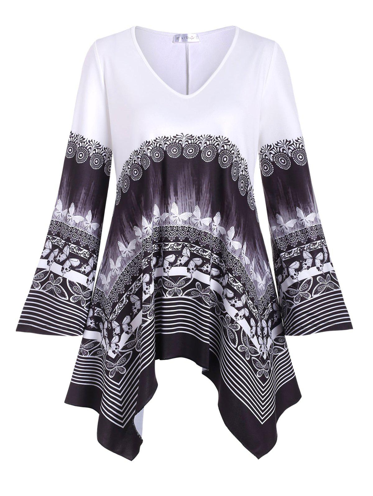 Store Plus Size Handkerchief Butterfly Tribal Print T Shirt