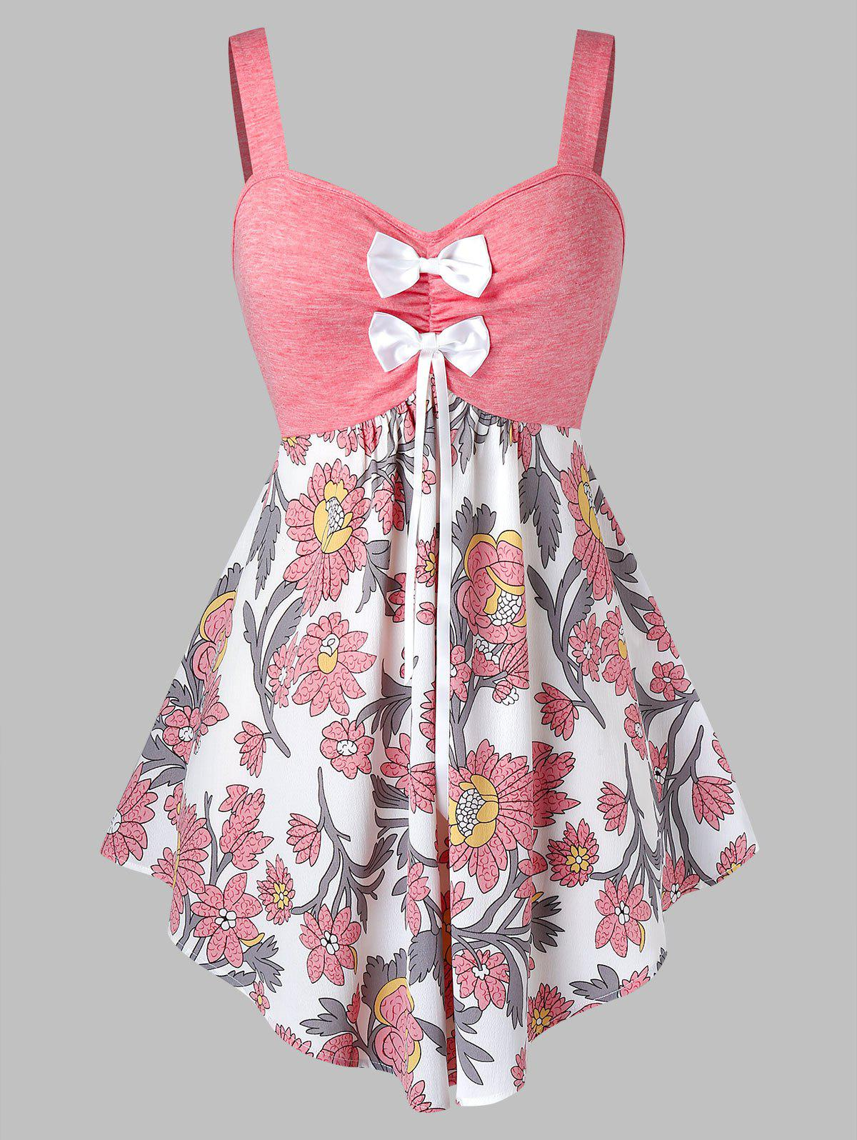 Hot Plus Size Flower Print Bowknot Backless Curved Tank Top