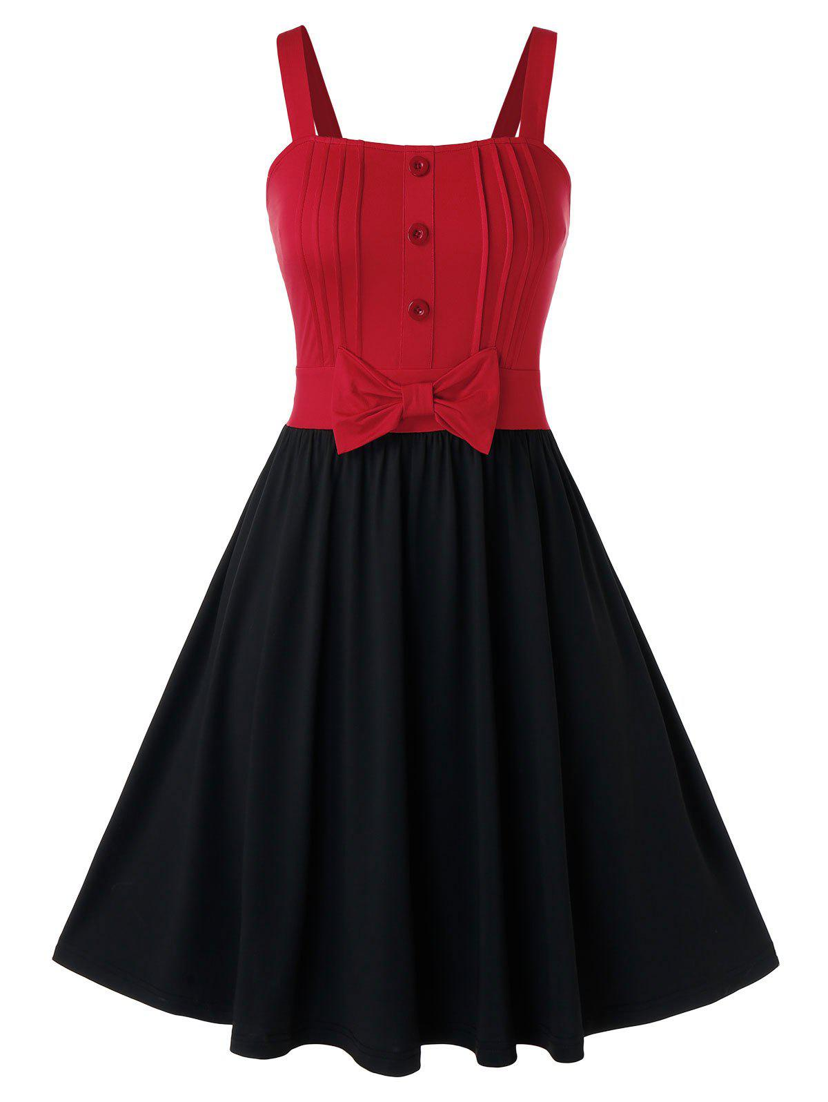 Outfits Plus Size Two Tone Bowknot A Line Dress