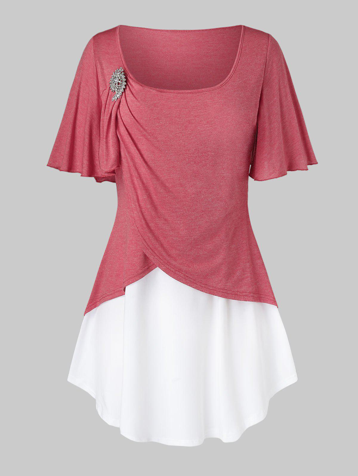 Shops Plus Size Two Tone Flutter Sleeve Ruched T Shirt