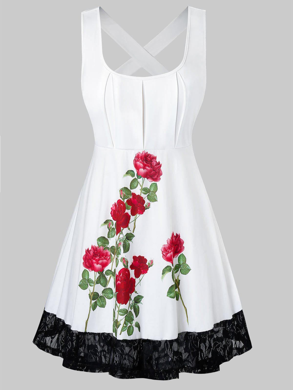 New Floral Pattern Lace Panel Plus Size Tank Top
