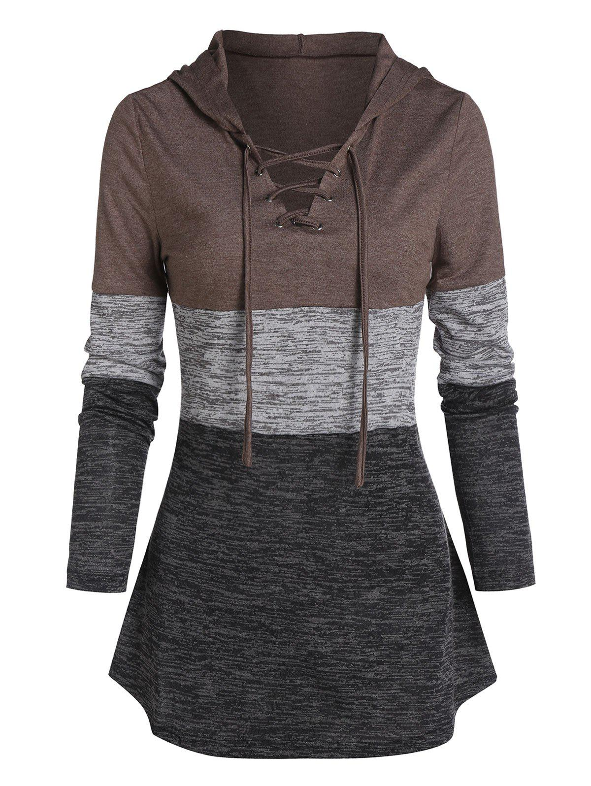 Store Space Dye Print Lace-up Contrast Curved Hem Hoodie