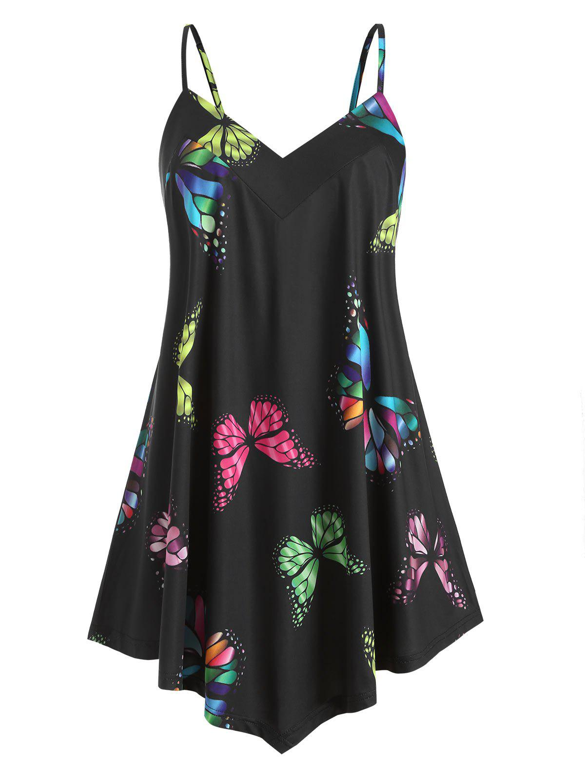 Unique Plus Size Butterfly Print Swing Cami Top