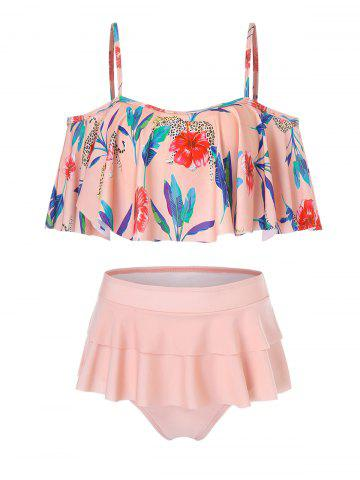 Tropical Flowers Print Flounce Bikini Swimsuit